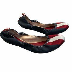 BALLY Women Vintage Striped Navy/Red/White 'Babrielle Ukke' Ballet Flats Size 39
